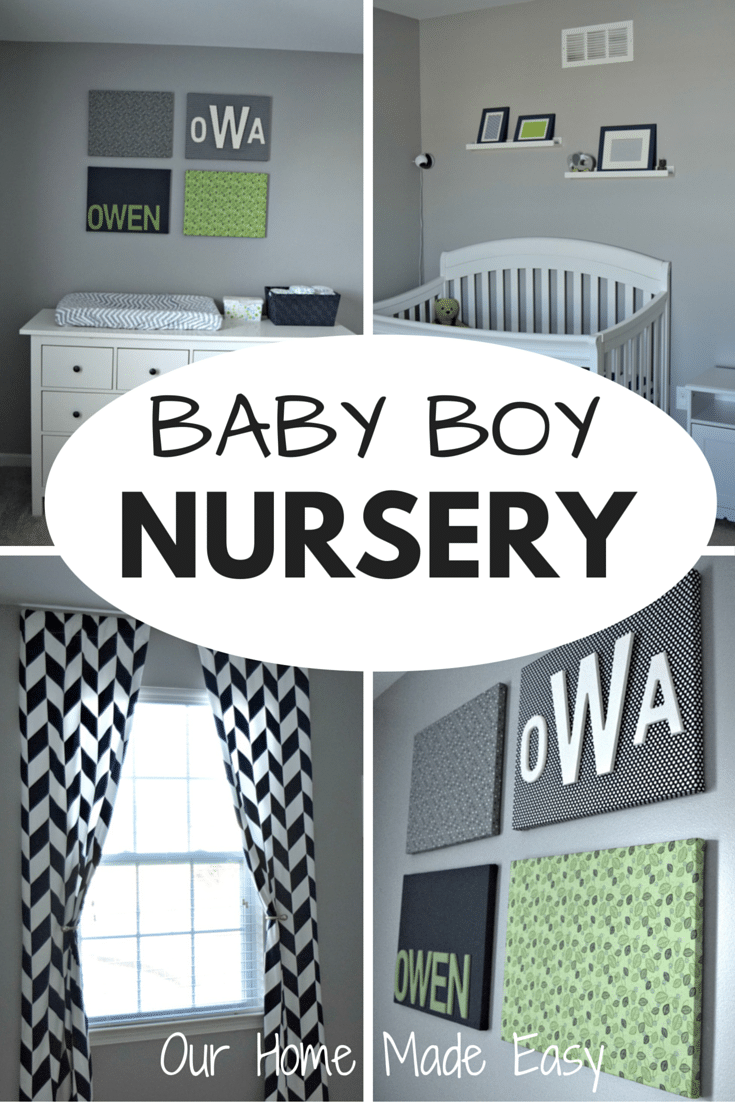A bright nursery using Navy Blue, Green, and gray colors. Click to see all of the photos!