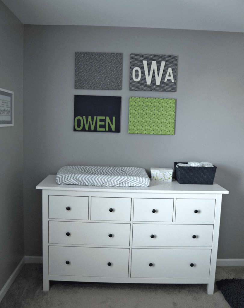 Blue Green Nursery Changing Table