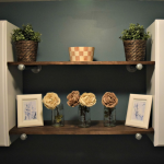 Our updated laundry room decor includes plenty of storage and shelves