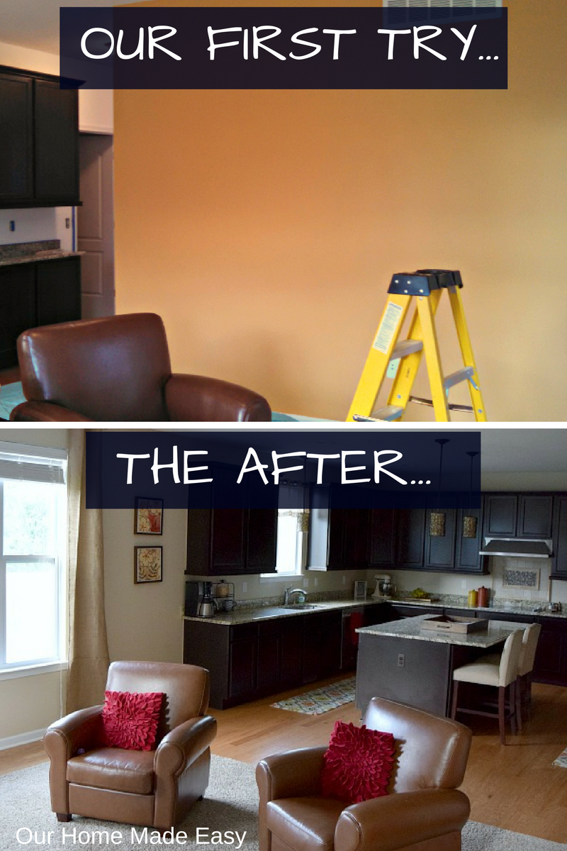 Before and after choosing a paint color for our new kitchen. We didn't do so well picking a color!