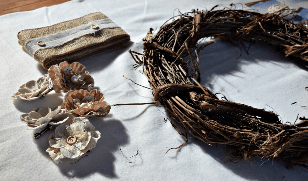 Using a pre-made rustic wreath makes this project so much easier and quicker to complete