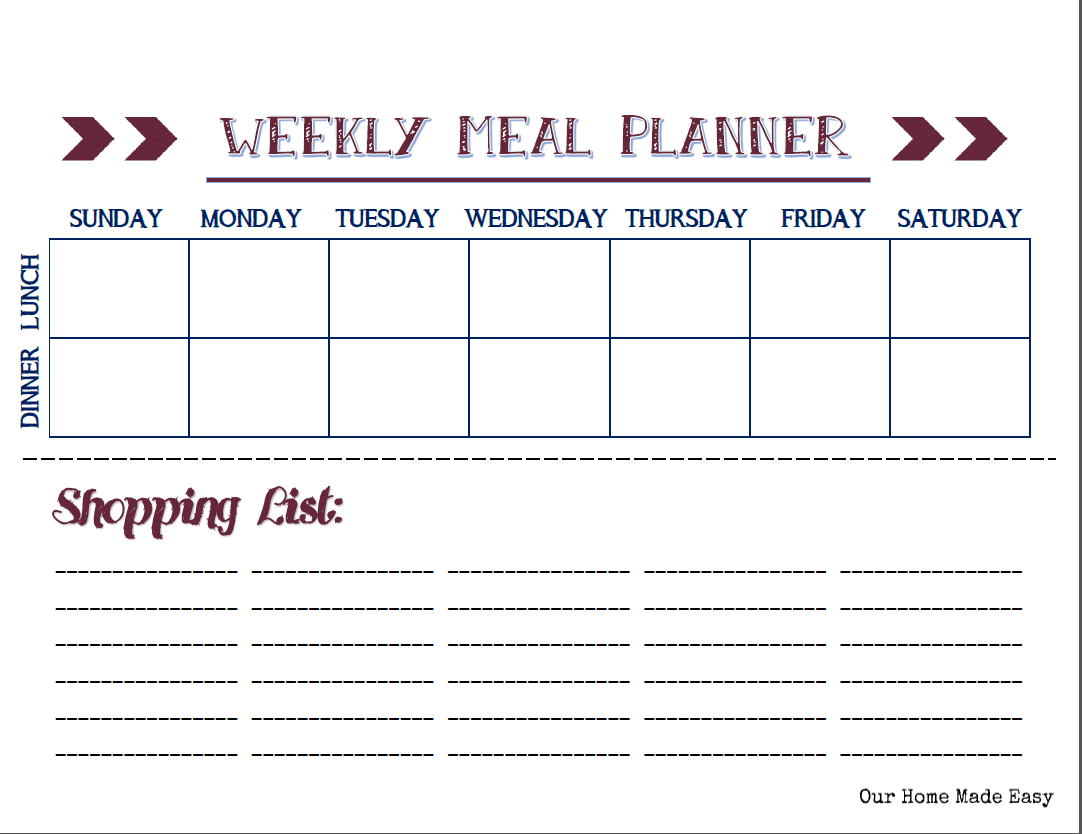 Our Home Made Easy: Weely Meal Planner