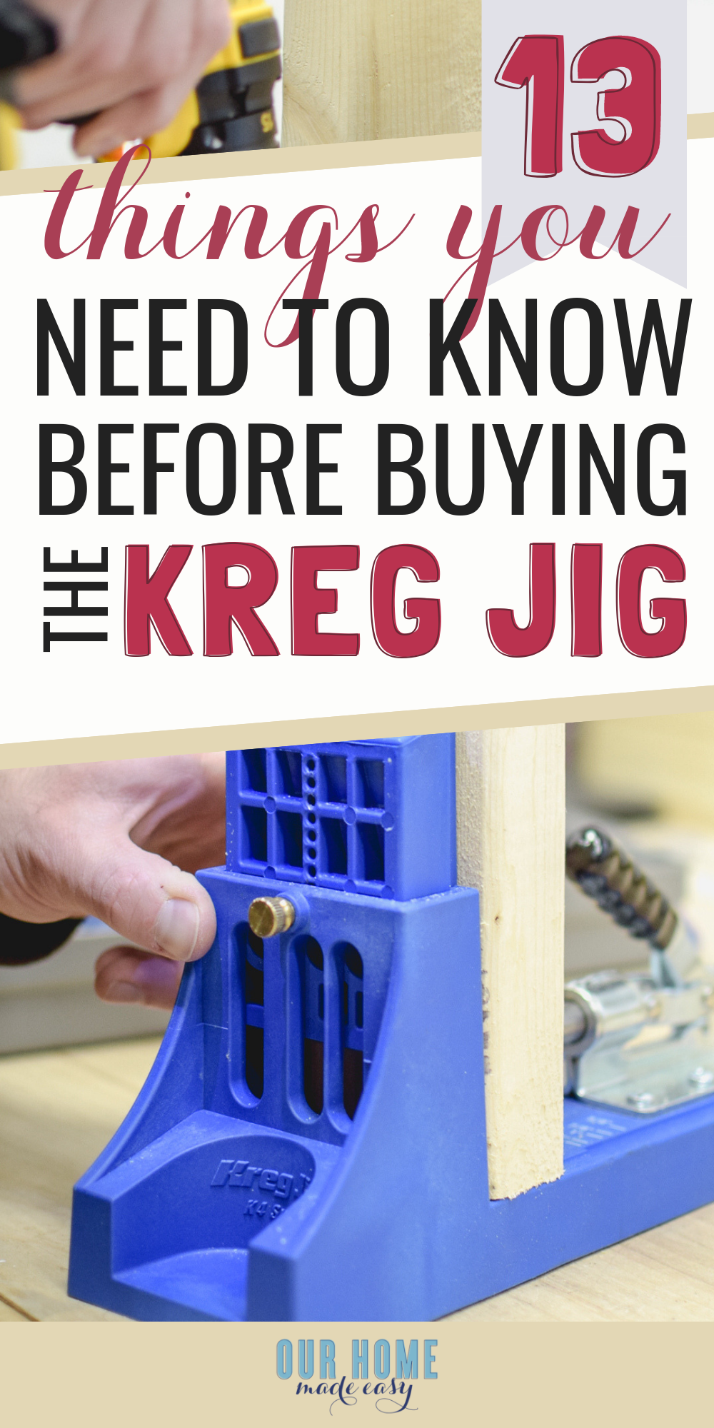 Here is everything you need for beginners who want to use the Kreg Jig. Before you buy, look at the 13 things you need to know before buying! #home #diy #ourhomemadeeasy