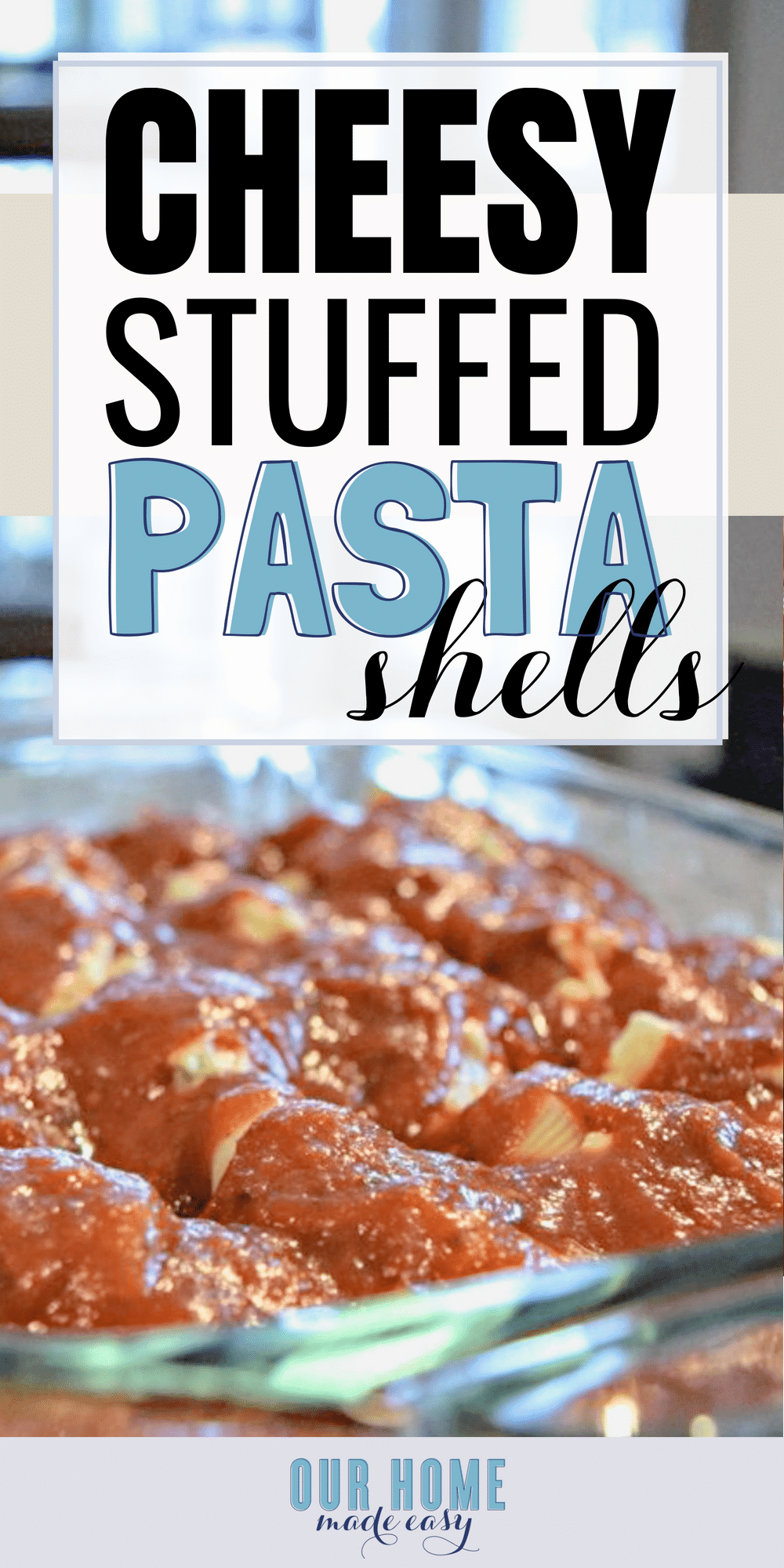 These Cheesy Stuffed Pasta Shells are the perfect family dinner recipe! They are easy to make and you can add in your own favorite toppings! #italian #dinner #recipe #pasta #dinnerrecipe