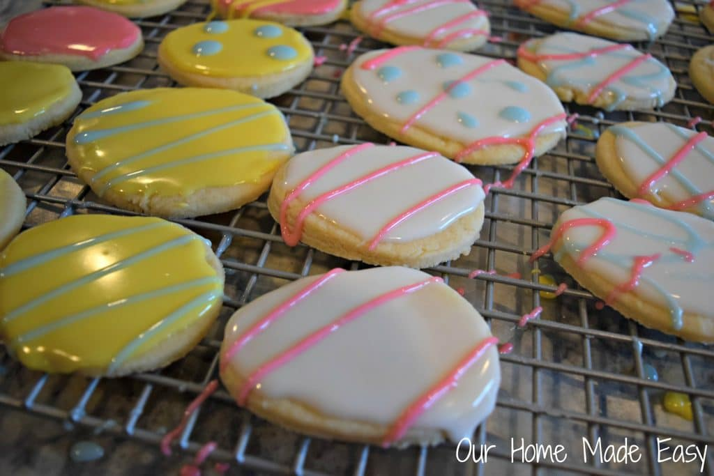 Easter egg cutout sugar cookies are the perfect Easter treat! Have the kids help decorate!