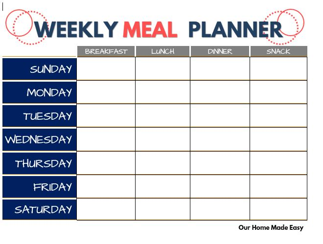Plan your whole week of meals with this FREE printable meal planner