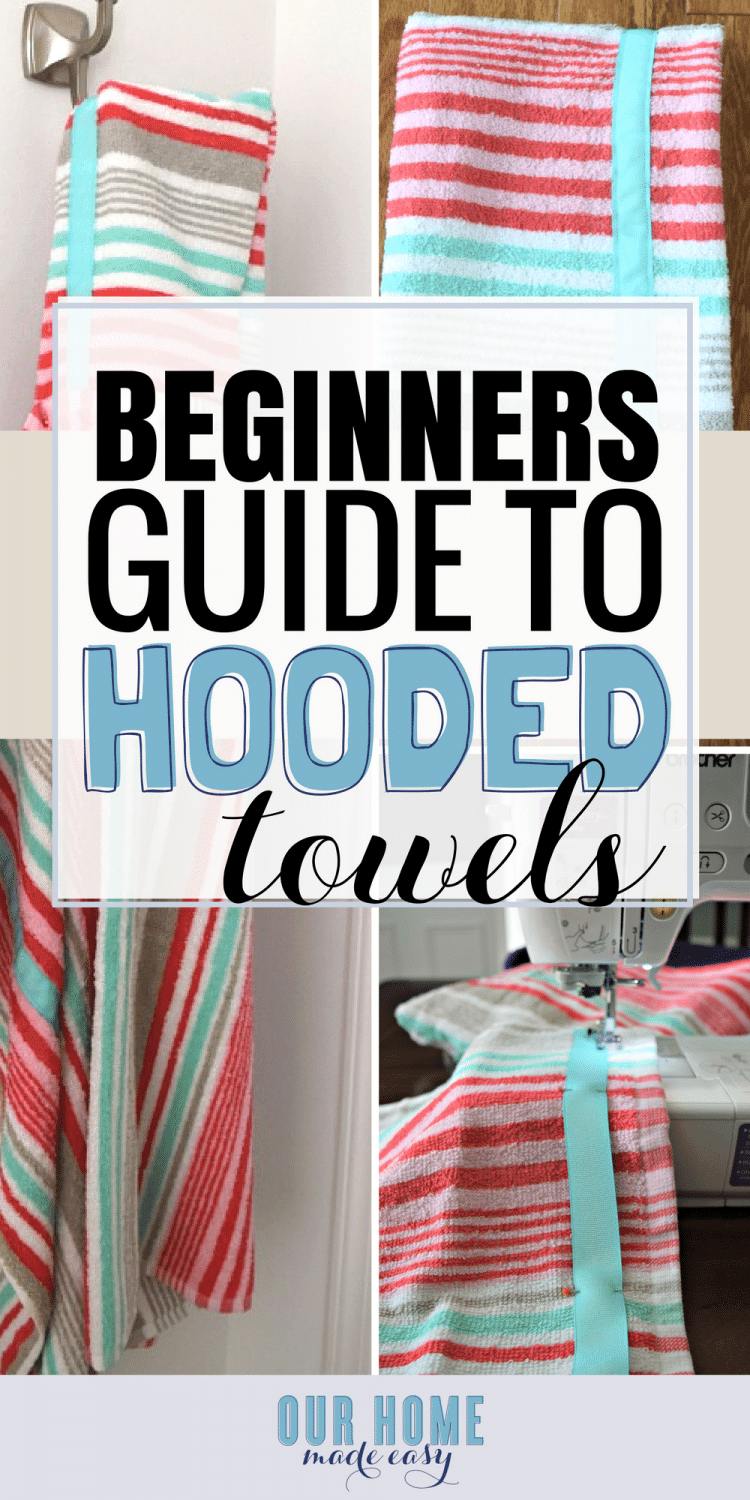An easy step by step tutorial for how to make a hooded towel for little kids! Super easy. Click to see the steps! #sewing #towels
