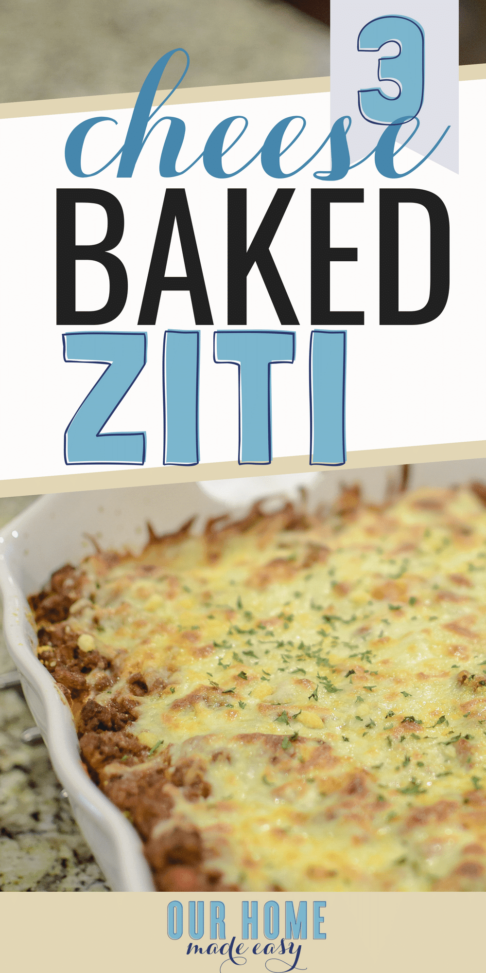 This easy baked ziti is super easy to make and feeds a large family! Click to see the recipe #dinner #pasta #dinnerecipe #italian #cheese #yum