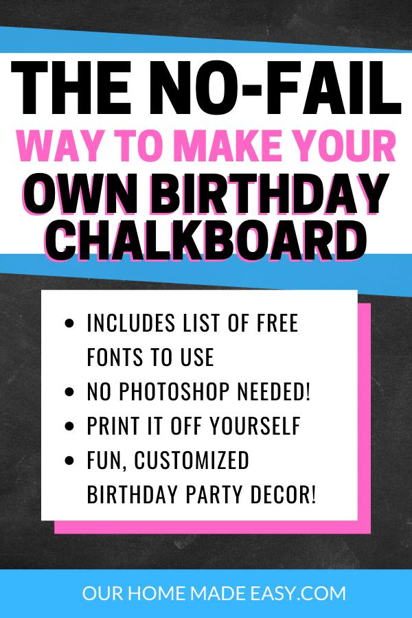 birthday chalkboard tutorial
