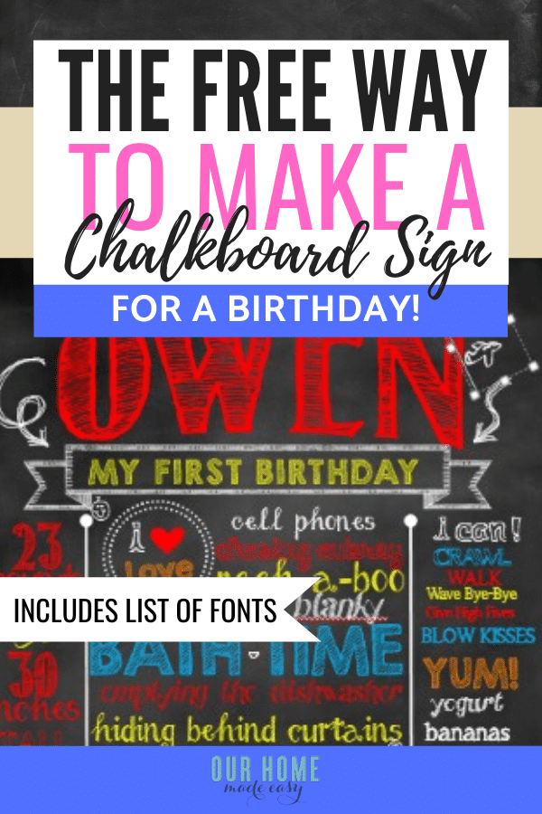 how to make a birthday chalkboard