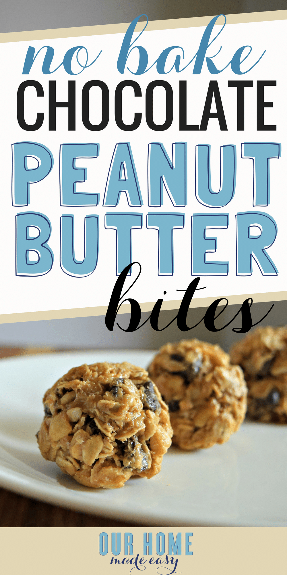 These no bake peanut butter bites are perfect for when you want a snack on the run! They are the perfect energy bites that are salty and sweet. #dessert #bites #oats #breakfast
