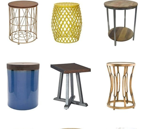 A List of 19 adorable and afforable end tables. All are less than $100 apiece! Perfect for living rooms, hearth rooms, and reading areas. Click to see them all!