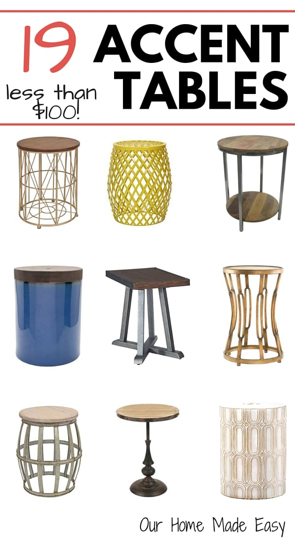 A List of 19 adorable and afforable end tables. All are less than $100 apiece!