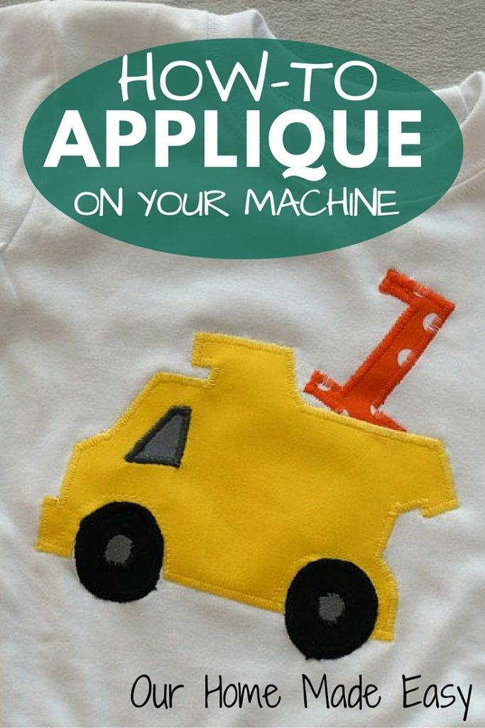 An easy how to applique tutorial for beginner sewers! This includes step by step instructions for beginners in sewing on a t-shirt!