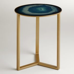 The Sapphire Harbin Accent Table has a gorgeous gem-like tabletop
