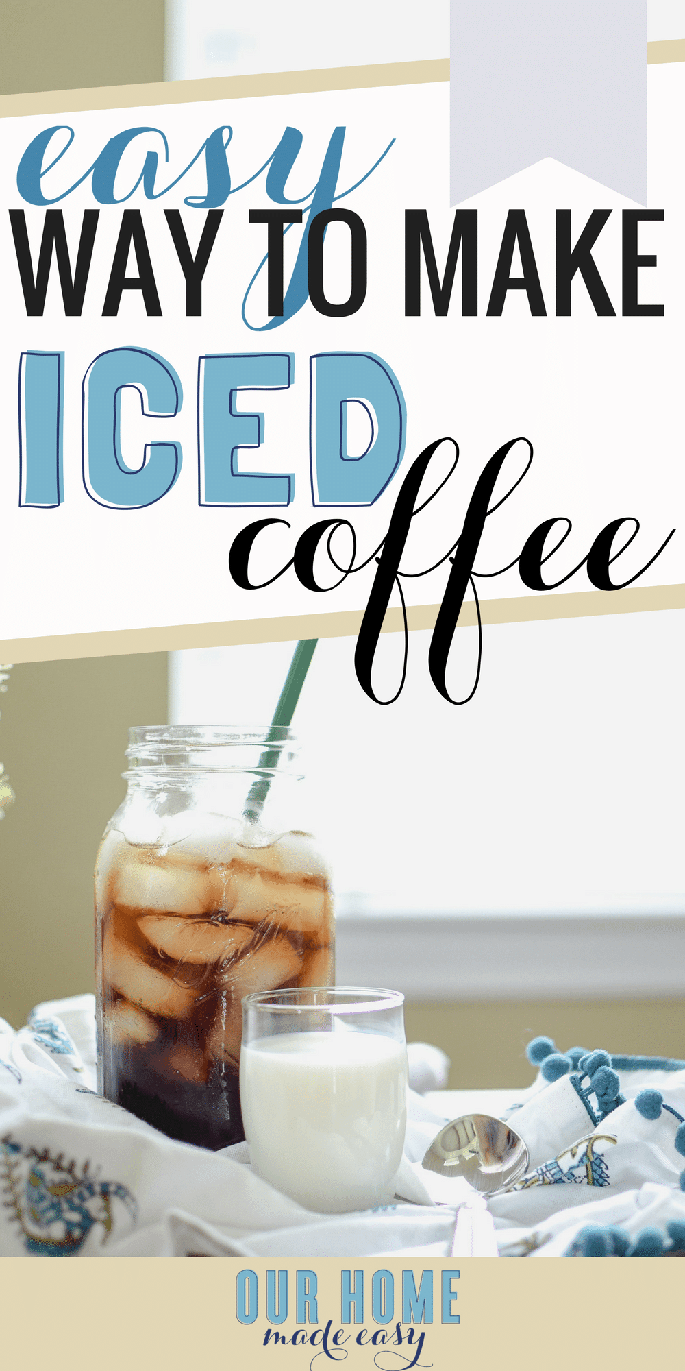 Make super easy cold brew for the perfect cup of iced coffee! Cold brew is less bitter than regular coffee and is so tasty! Click over to see the recipe and enjoy a cold glass now!