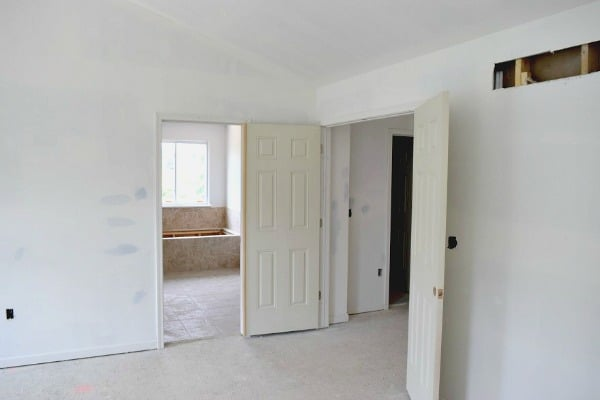 The Before Photos! Great ideas for a rustic transitional master bedroom. Lots of white and wood details.
