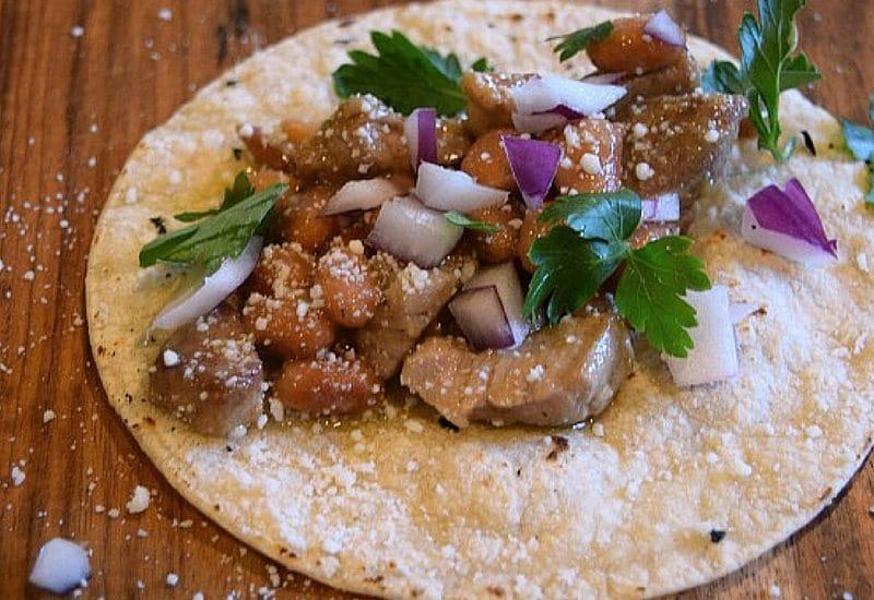 Pork and Black Bean Enchilada Tacos