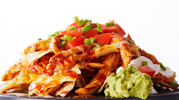 Loaded BBQ nachos are a fast and easy dinner the family will eat up