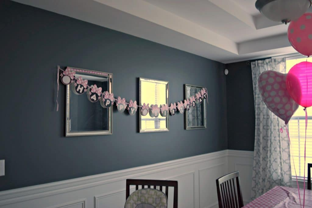This Minnie Mouse birthday banner was perfect for our Minnie Mouse Birthday Party
