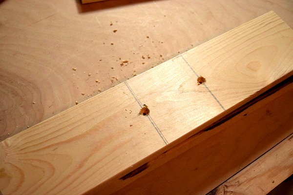 Mark where to put the decorative handles for your DIY wood tray