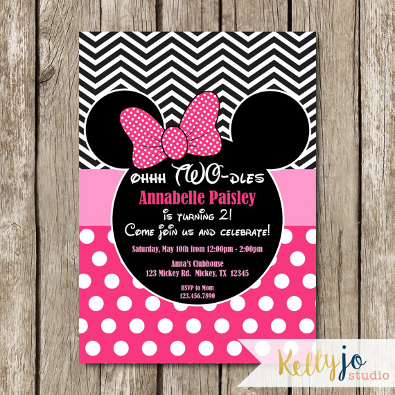 Minnie Mouse Birthday Invitations Credit Kelly Jo Studio Via Etsy