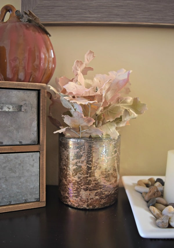 I painted these faux fall leaves with an ivory spray paint to use as a fall arrangement