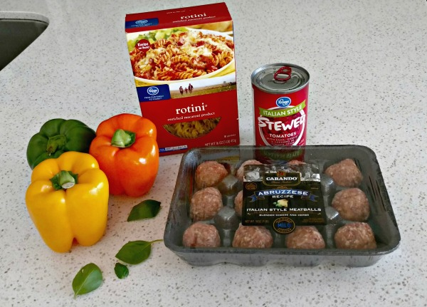 Italian meatballs, peppers, tomato sauce, and rotini pasta is all you need to make this delicious Italian dish