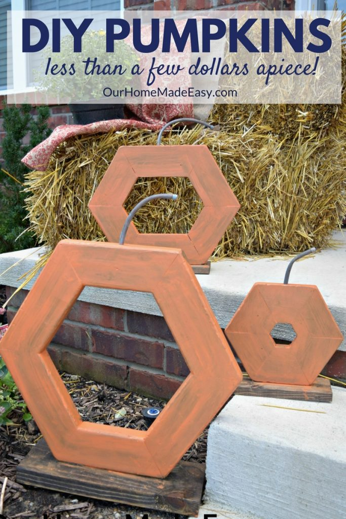 Use leftover lumber for these cute (and easy) pumpkins! Perfect for farmhouse decor or add some paint for extra color! Click to see how to make them!