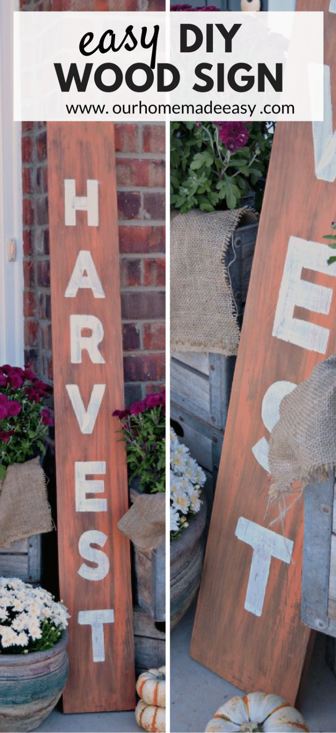 Easy DIY Wood Harvest Sign Tutorial from Our Home Made Easy