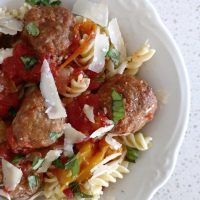 Easy Slow Cooker Italian Meatballs & Peppers