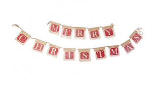 Add this burlap Merry Christmas garland to your Christmas decor for a simple upgrade