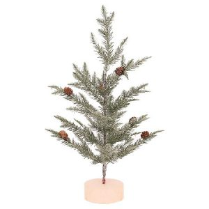 This mini frosted pine tree is simple yet festive christmas decor
