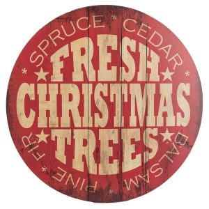 This Fresh Christmas Trees sign is a perfect marker for Christmas tree season