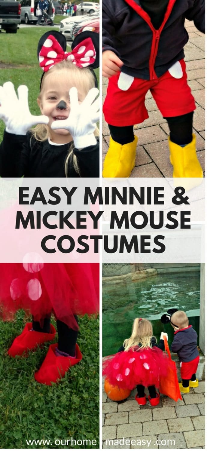 Make Minnie & Mickey Mouse costumes easily and budget friendly! Check out how to make them here!