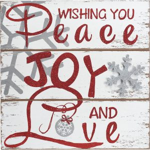 Spread peace, love, and joy with this rustic Christmas sign