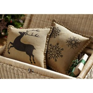 These Prancer reindeer and snowflake pillows add a Christmas touch to your home