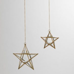 These star shaped hanging lanterns add a sparkle to your Christmas decor