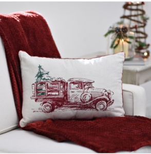 This vintage holiday truck throw pillow adds a seasonal touch to your home