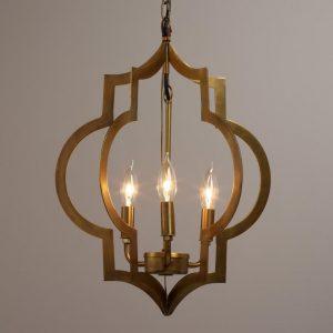 quatrefoil brass foyer chandeliers