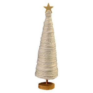 This white yarn wrapped tree is a subtle, simple Christmas decoration