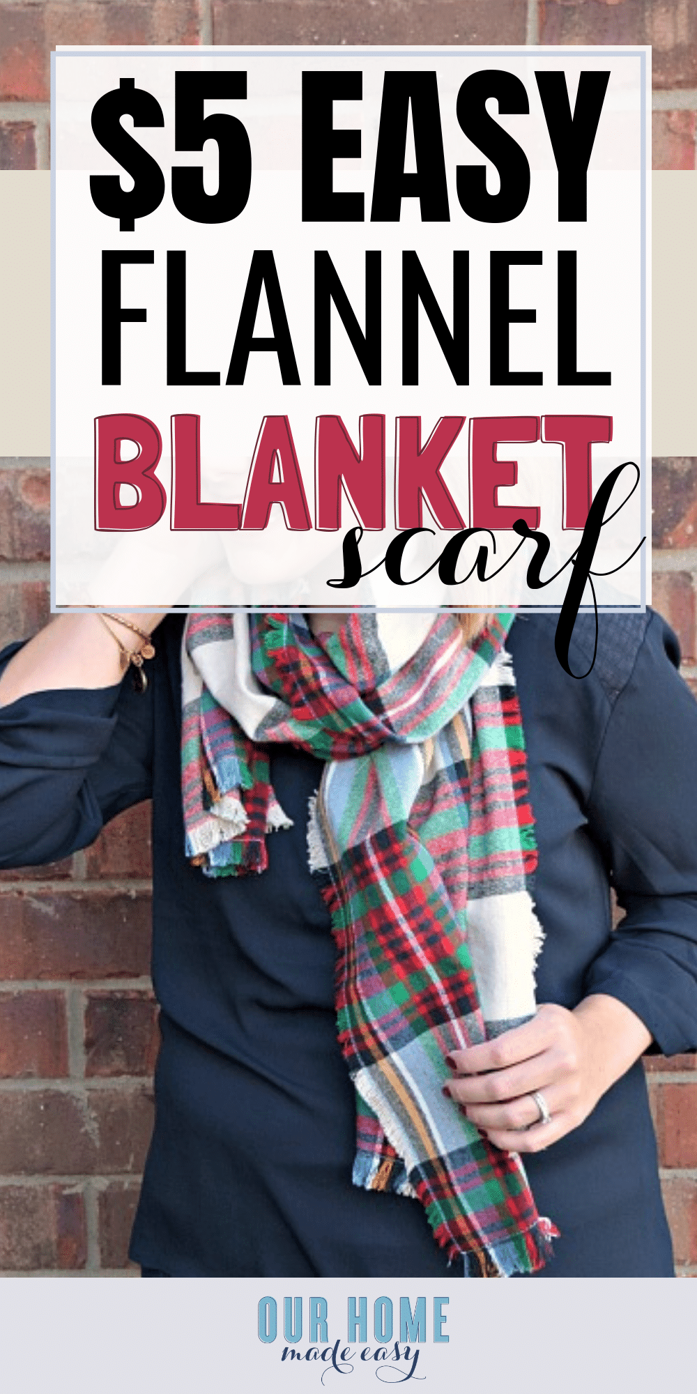 DIY blanket flannel scarf for under $5! You can adjust the size & choose your favorite pattern. Click to see how easy it is to make! #fall #clothing #scarf #flannel #sewing