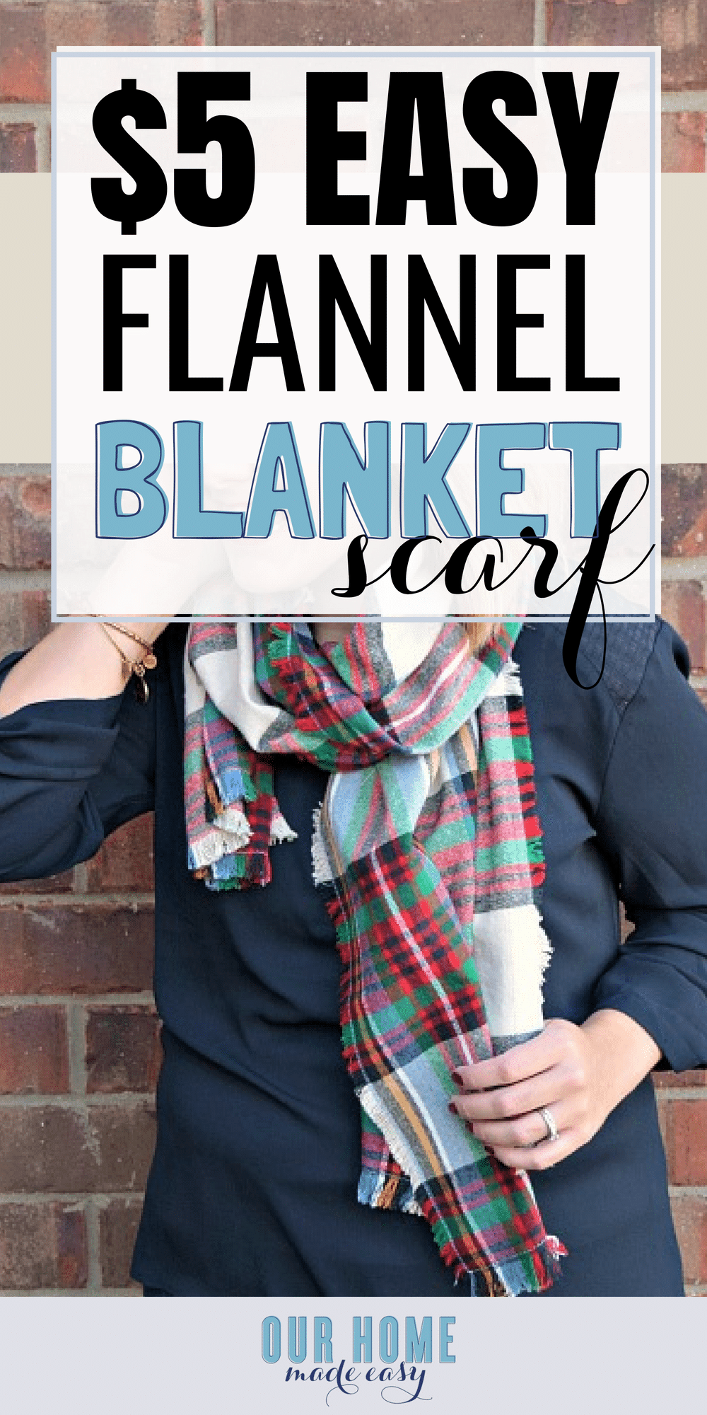 Make your own blanket flannel scarf for under $5! You can adjust the size & choose your favorite pattern. Click to see how easy it is to make! #fall #clothing #scarf #flannel #sewing