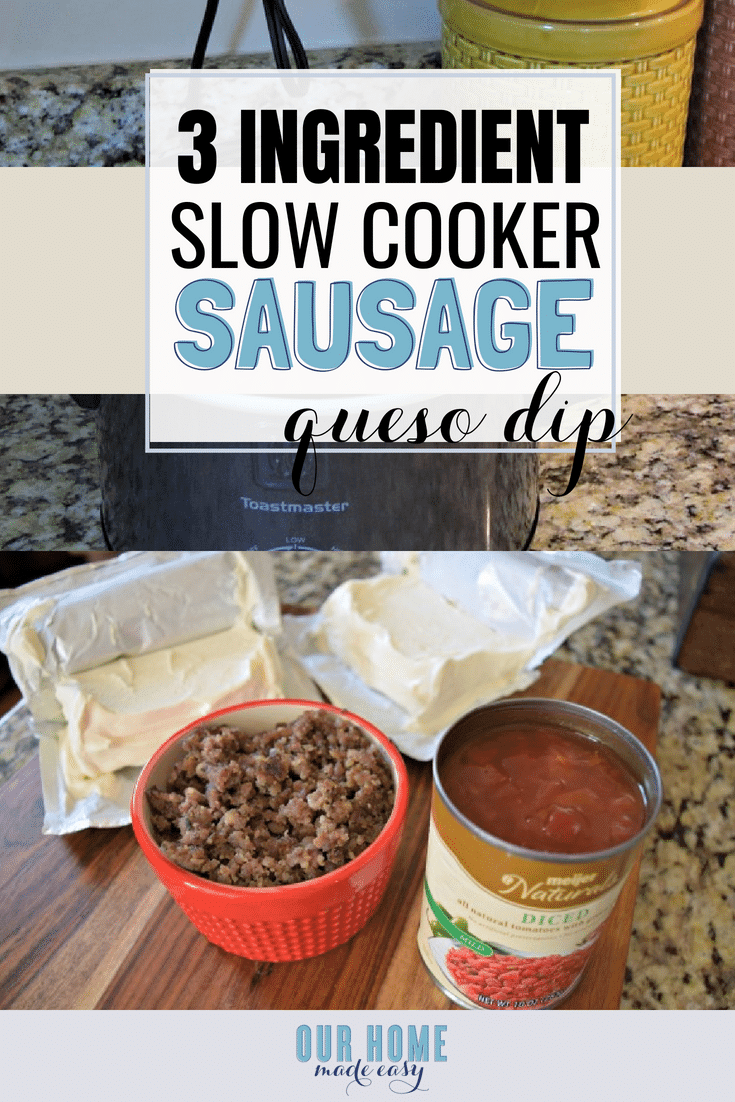 Make this easy 3 ingredient sausage queso dip for your next party! It's the perfect tailgating recipe! Click for the recipe! #dip #appetizer #recipe #footballfood #queso