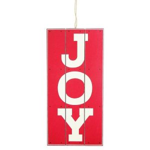 This red and white JOY sign adds a rustic Christmas touch