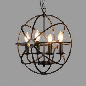 industrial vintage metal orb foyer chandelier