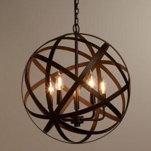 rustic globe style foyer chandelier