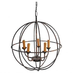 rustic globe style hanging foyer chandelier