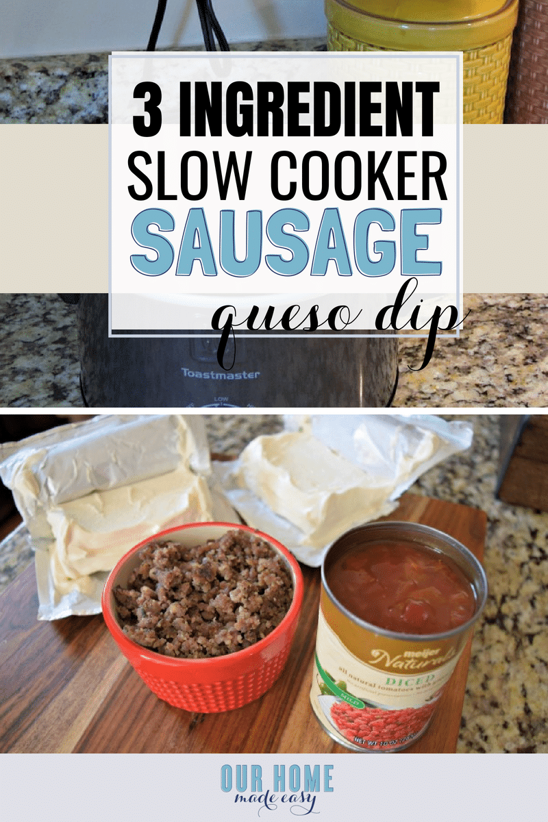 This three ingredient sausage and queso dip is the perfect slow cooker dip for a tailgate party