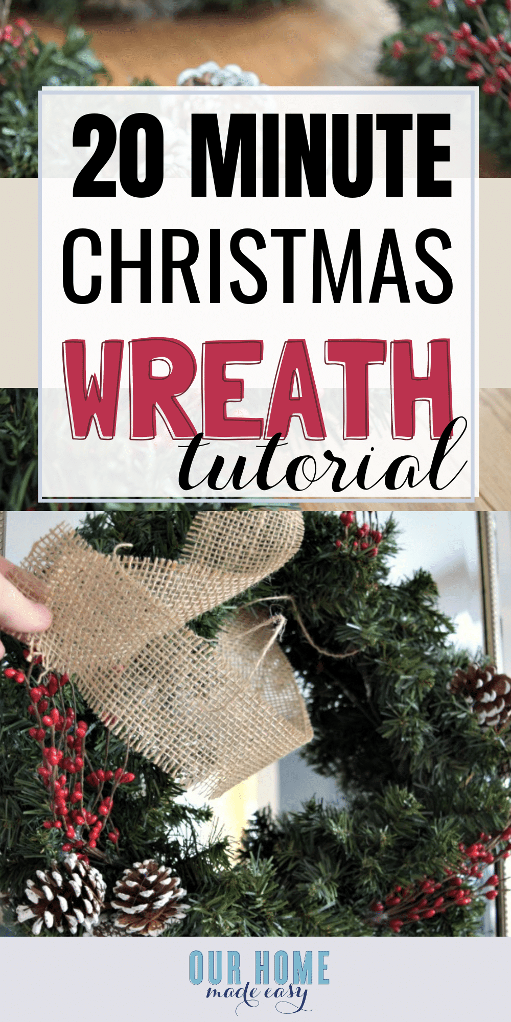 Make this quick Christmas wreath for just a few dollars! Budget Christmas decor can still look great! They look great hanging together. Click to see the tutorial for the wreaths! #christmas #home #wreath #homedecor